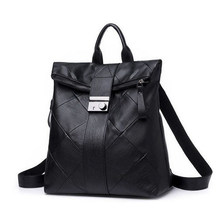Pu Leather Backpack for Women Black Fashion Plaid Backpack Female Trend Women's Bags High Quality Soft Ladies Backbag 2020(China)