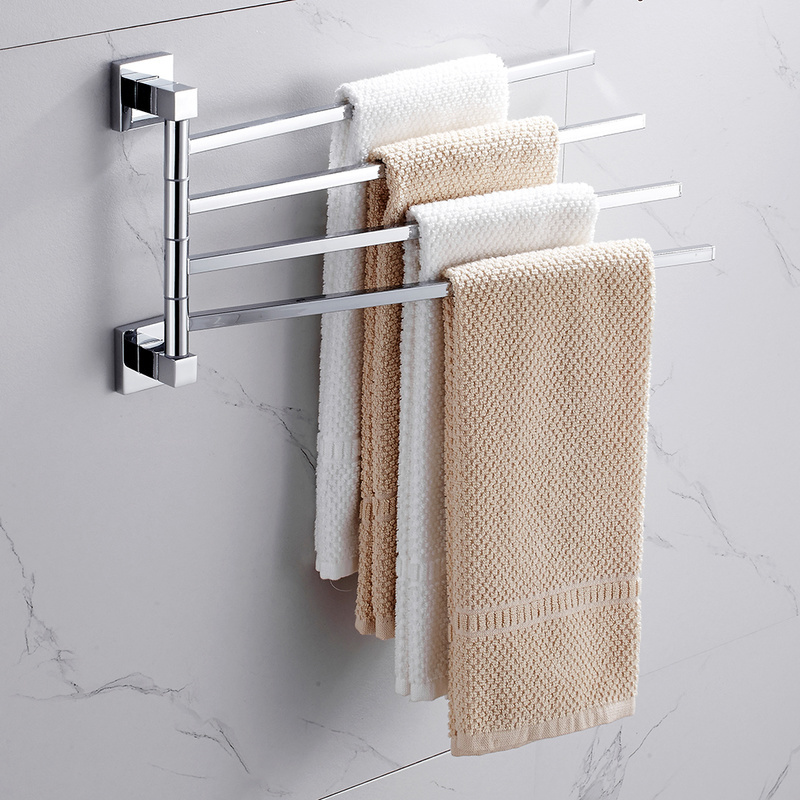 Stainless Steel 2/4 Swivel Towel Bars Hanger Bathrobe Towel Rack Holder Wall Mounted Rotatable Bathroom Accessories