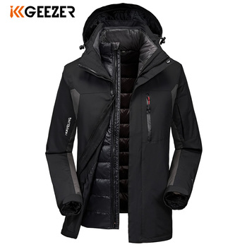 Winter Jacket Down Men Waterproof Outdoor Softshell Jacket 2 Sets Duck Hooded Military Warm Loose Parka Coat Thick High Quality
