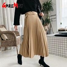 Midi Skirt Korean-Style Women Vintage High-Waist Fall Female Pleated Black