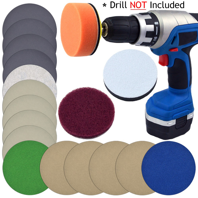 Waterproof Sandpaper Kit Sponge Pad Scouring Cloth Cushion Polishing Grinding Automotive Car Headlight Abrasive Sanding Discs