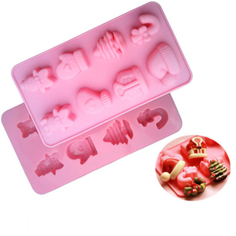 2019 New DIY Silicone Cake Mold Candy Mold 8 Christmas Hat Snowman Chocolate Mould 3D High Quality Soap Mould 100% Brand New