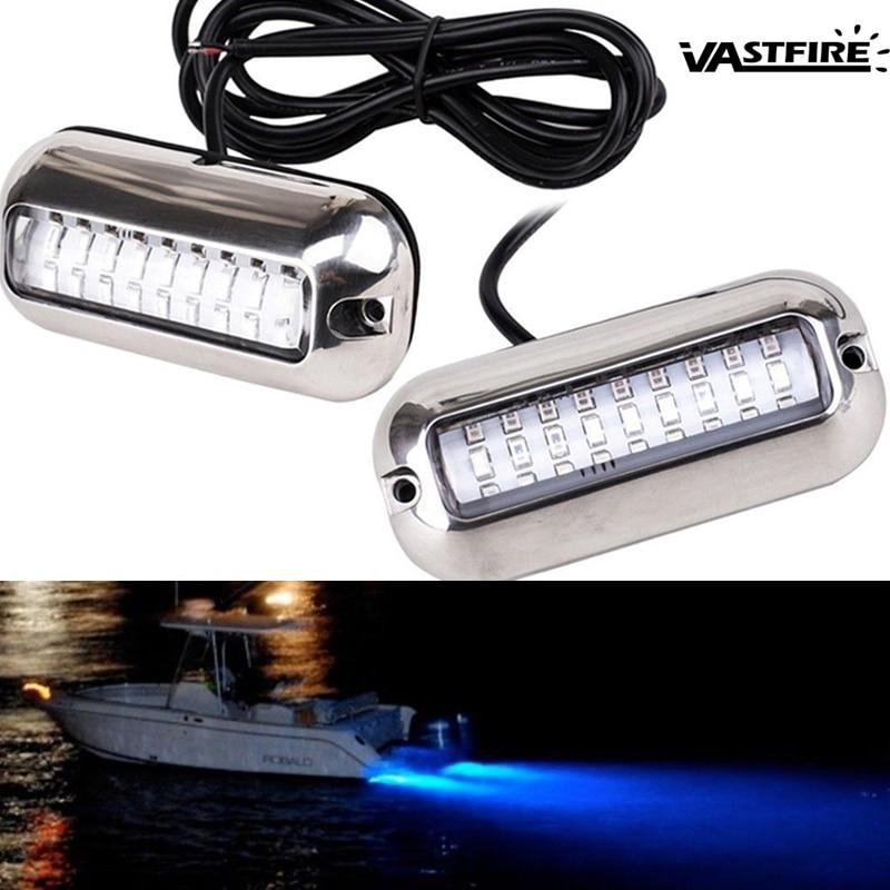 1 Or 2PCS 12V 24V 50W Stainless Steel 27LED Blue LED Boat Light Underwater Pontoon Marine Ship Transom Light