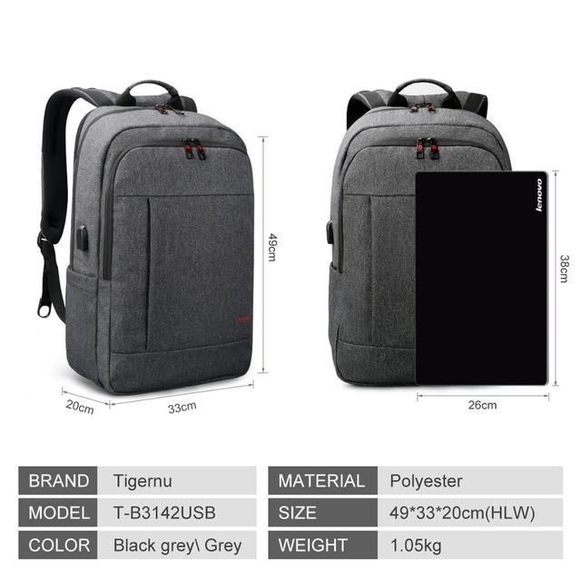 Tigernu Large Capacity USB charging backpack bag set 4