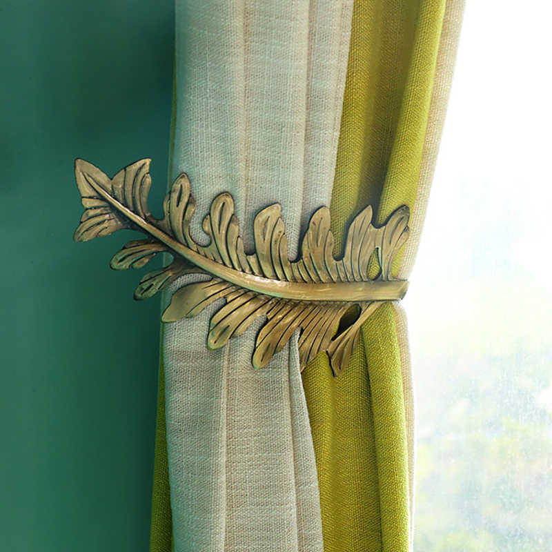 1pc high quality metal curtain holder leave style hook living room holdback window curtain accessories decoration home decor