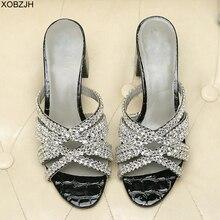 여성 신발 여름 플랫 럭셔리 G 샌들 2019 브랜드 디자이너 라인 석 샌들 블랙 정품 가죽 단독 슬리퍼 신발 여자