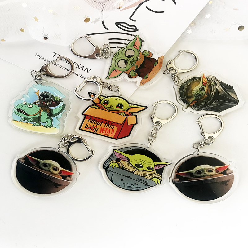 Movie Mandalorian Baby Yoda Keychain Cute Yoda & Mando Animated Children's Toy Pendant Keychain Car  Key Chains Gift