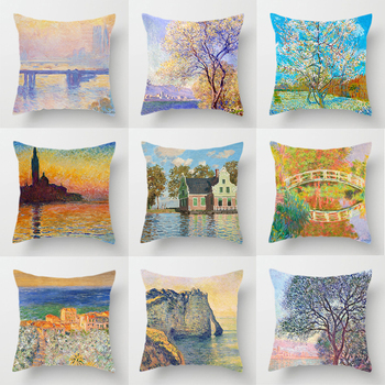 Claude Monet Polyester Printing Cushion Cover Sofa Landscape World Famous Oil Painting Throw Decorative Pillow Case Home Decor