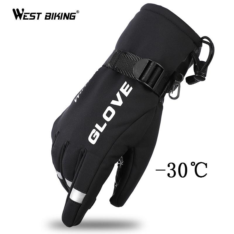 WEST BIKING Winter Ski Gloves Snowboard Gloves Snowmobile Motorcycle Cycling Gloves Windproof Waterproof Snow Warm Skiing Gloves