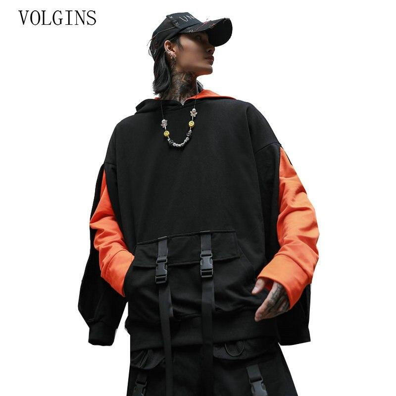 Streetwear 2020 Hip Hop Hoodie Sweatshirt Men Hoodie Pullover Long Sleeve Cotton Ribbons Hooded Pocket Clothes New