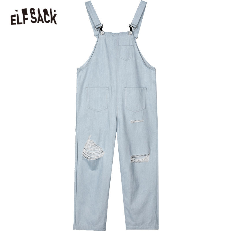Clearance Sale╜ELFSACK Overall Denim Jumpsuits Jeans Straight-Pocket Autumn Casual Women Korean Ladies