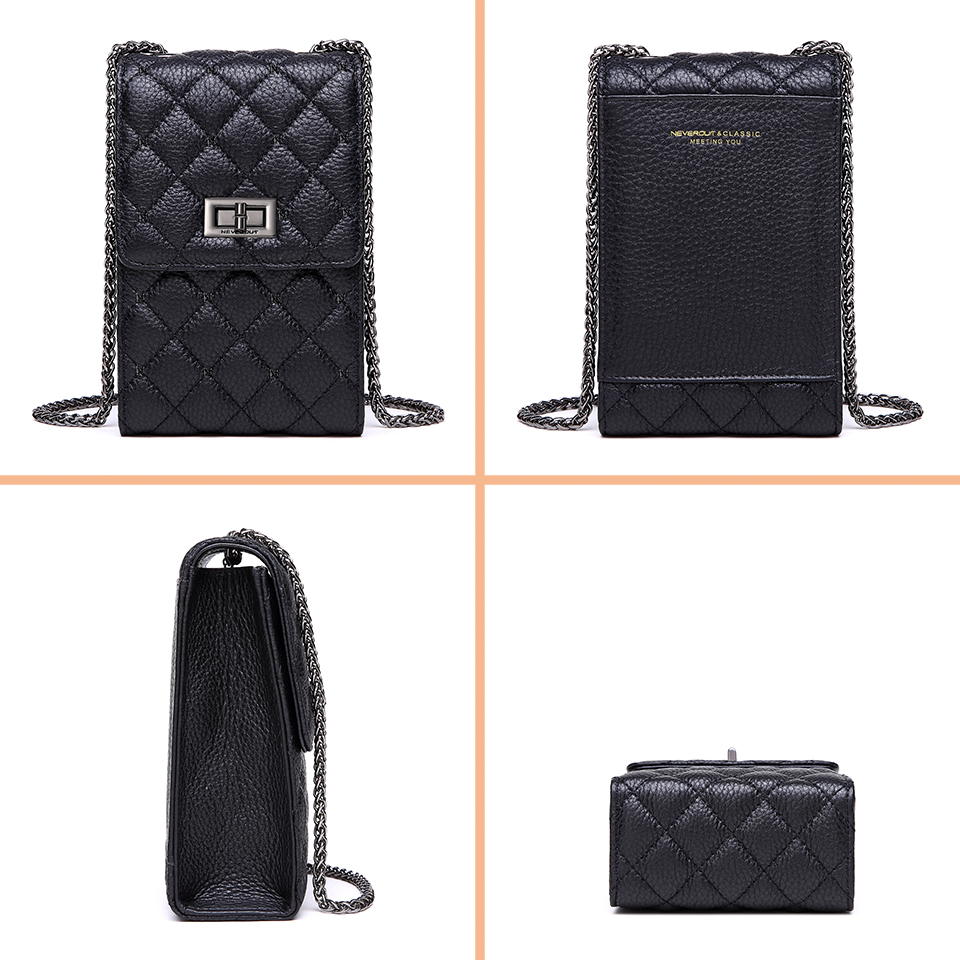 Image 5 - NEVEROUT Genuine Leather Shoulder Bag for Women Cell Phone Purse Crossbody Ladies Small Quilted Bag Sac a Main Messenger Bags-in Top-Handle Bags from Luggage & Bags