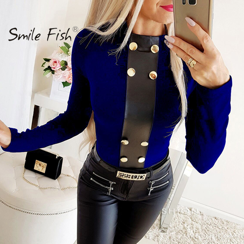 Tsmile Womens PU Leather Shirts Stylish Plus Size Two Tone Patchwork Slim Fitted Pullover Tunic Tops Blouse