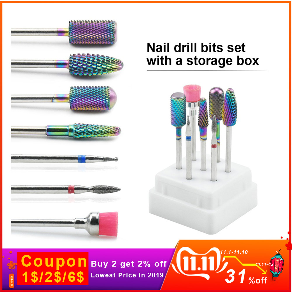 Nail Drill Bits Set Ceramics Tungsten Carbide Alloy With Box Sanding Brush Combination For Electric Manicure Machine Nail Tools