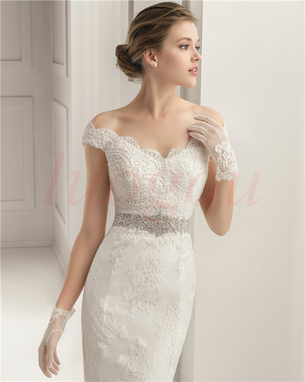 Casamento Cap Sleeve V-neck Vestido De Noiva 2016 Fashionable Sexy Crystal Belt Bridal Gown Lace Wedding Dress Free Shipping