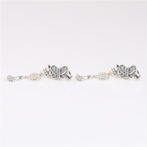 Image 2 - 925 sterling silver earrings new cz Sparkling Butterfly Stud Earrings for ladies birthday gifts