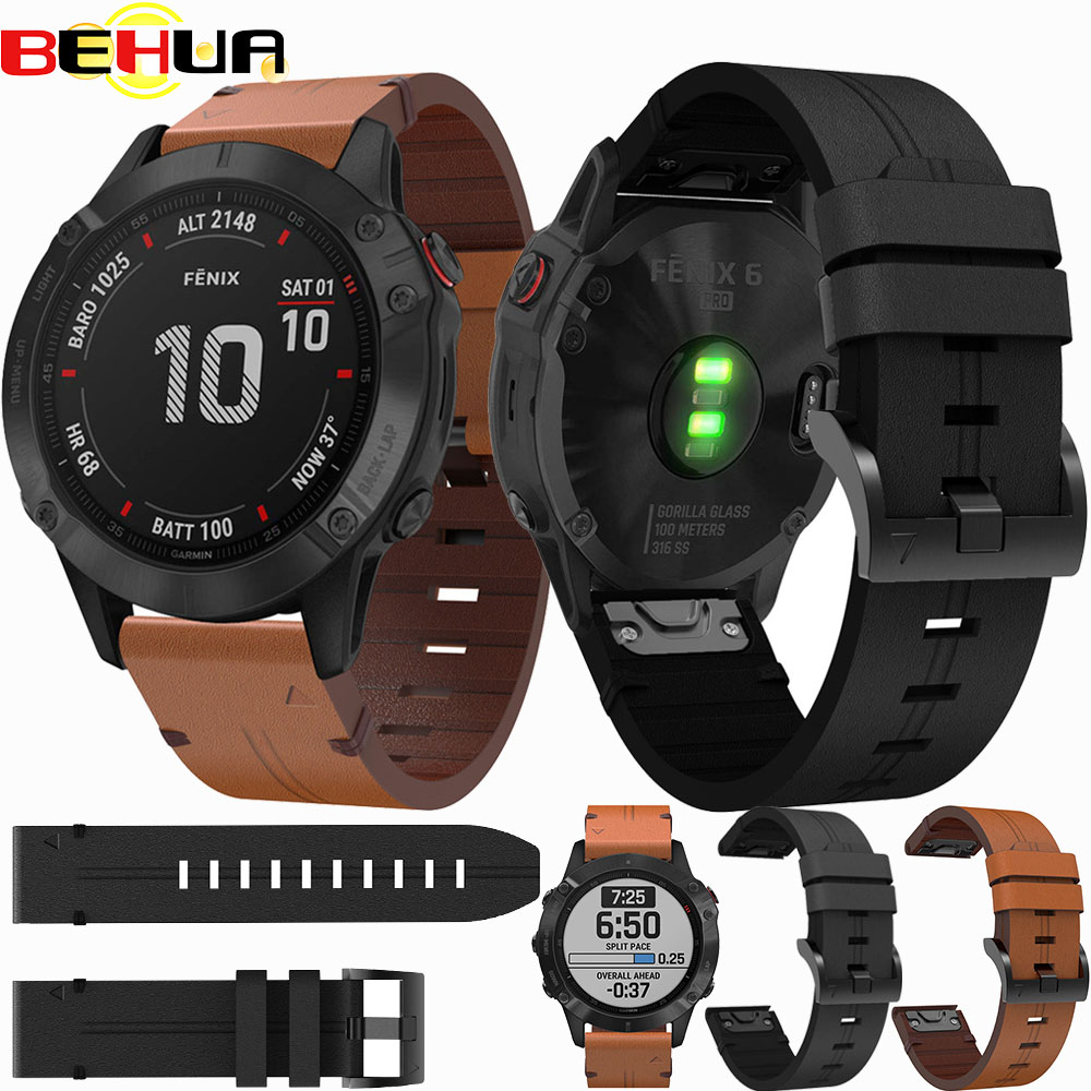 22mm 26mm Watch Band Quick Release Strap For Garmin Fenix 5/5 Plus/6/6 Pro Wristband Leather Bracelet Easy Fit Replacement Strap