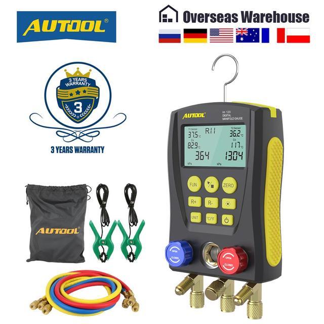 AUTOOL LM120 + klima manifoldu dijital vakum ölçer soğutma HVAC vakum basınç sıcaklık test cihazı PK Testo