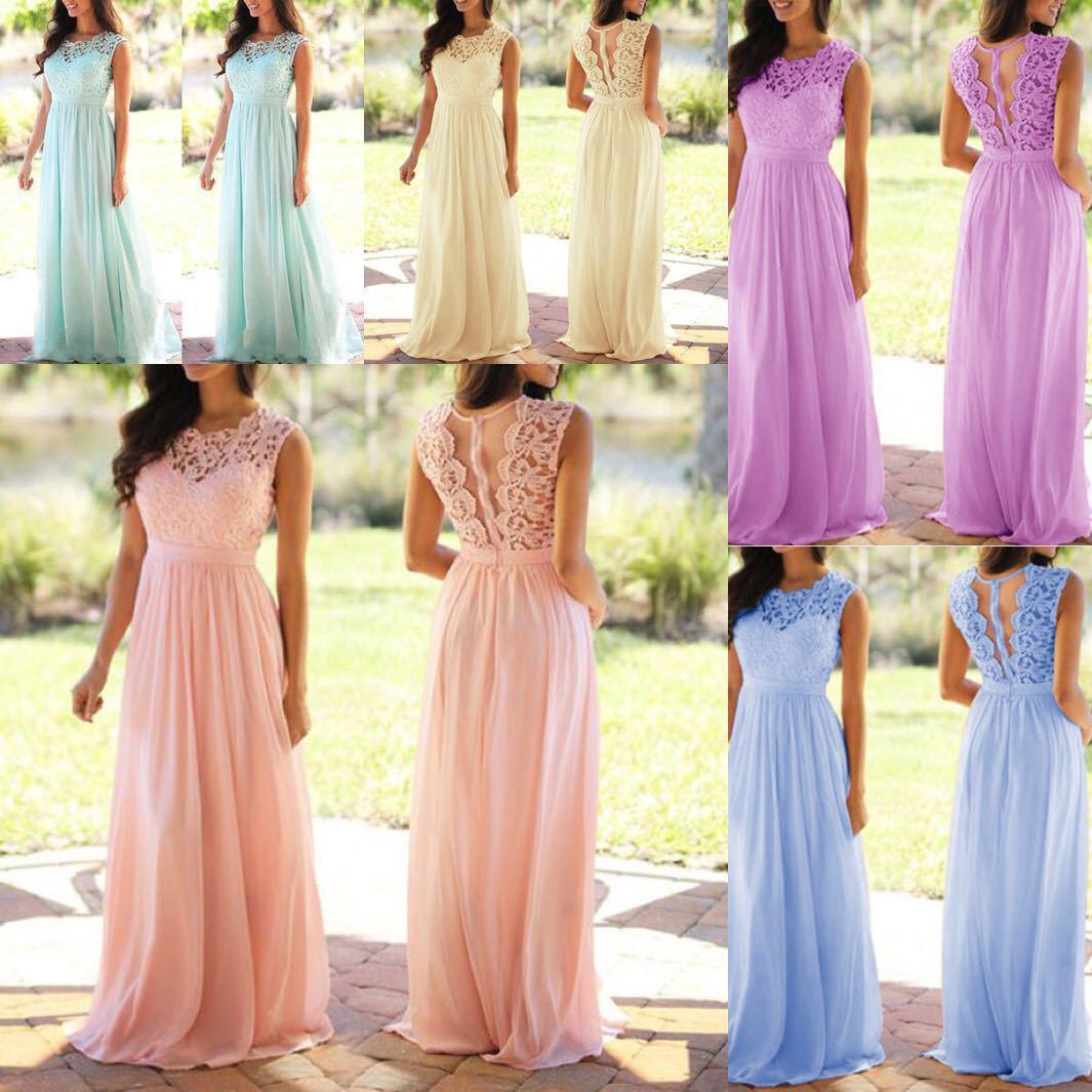 Plus Size S-5XL Wedding Bridesmaid Party Maxi Dress Robe Femme 2019 Vestidos Vintage Lace Patchwork Long Dress
