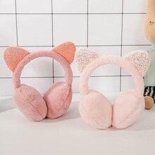 Fashion Cat Ear Plush Earmuffs Shiny Sequin Soft Earflaps Headband for Kids Boys Girls Unisex Vintage Ear-cap Winter Outdoor