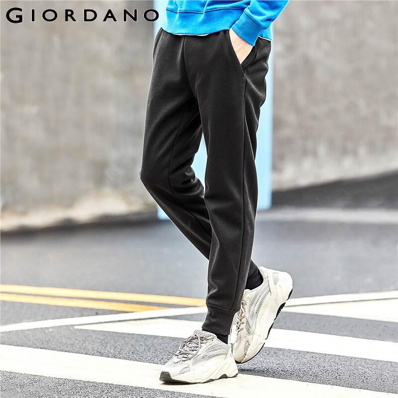 Giordano Men Pants Elastic Waistband With Drawstring Fleece-lined Joggers Double Pockets Ribbed Calca Masculina 01119095
