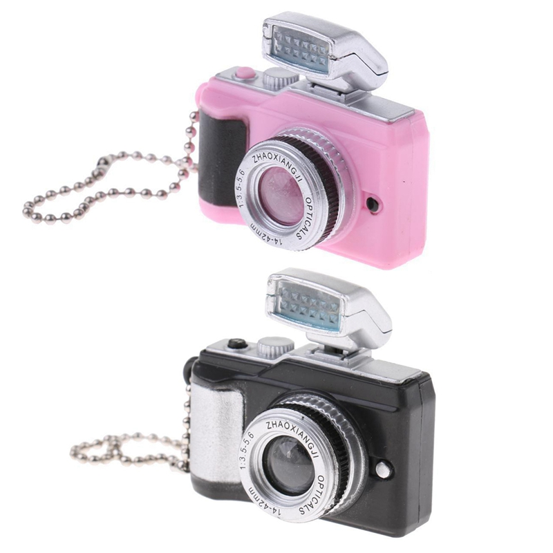 2pcs 1:8 Scale Dollhouse Miniature Digital SLR Camera Dolls House Decoration Accessory - Black & Pink