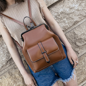 Image 5 - 2020 Vintage Retro Hasp women BackPack PU Leather school bag Backpack for Teenagers Girls Travel fashion female Shoulder Bags