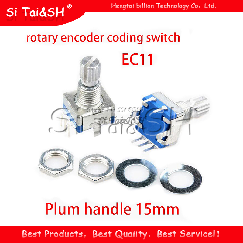 1 pièces prune poignée 15mm codeur rotatif commutateur de codage/EC11/potentiomètre numérique avec interrupteur 5 broches
