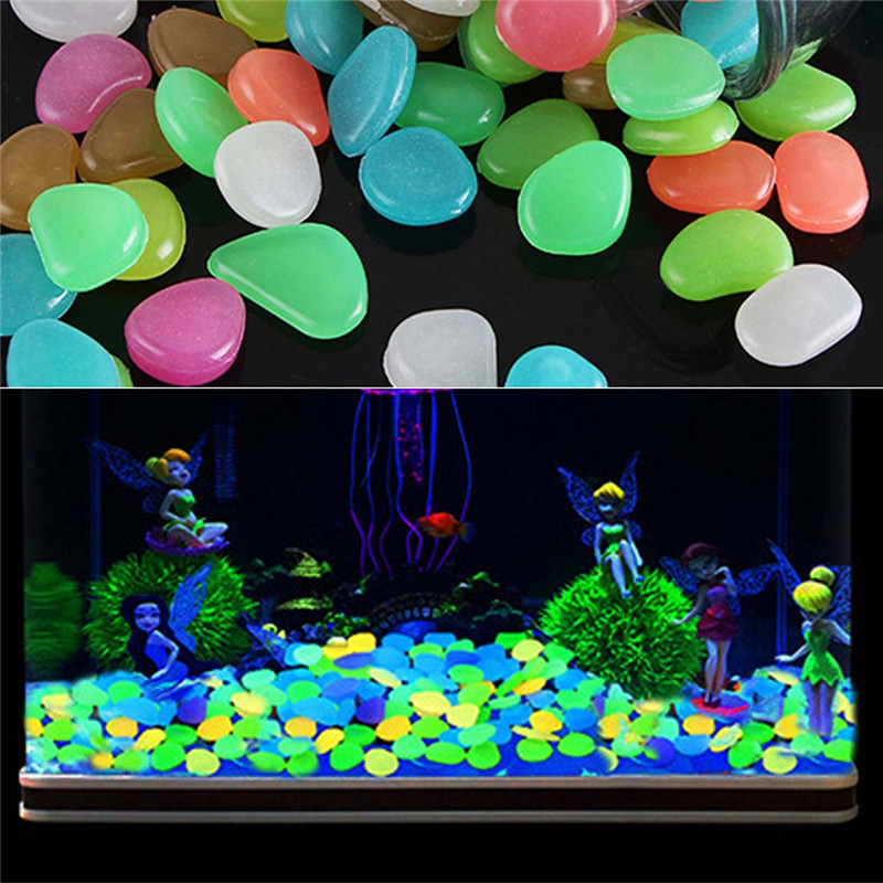 10 Pcs Unique 20 G Fake Pebbles Glow Stone Night Rocks Aquarium Decoration Nice Glow Stone Night Eco-friendly Solar Powered