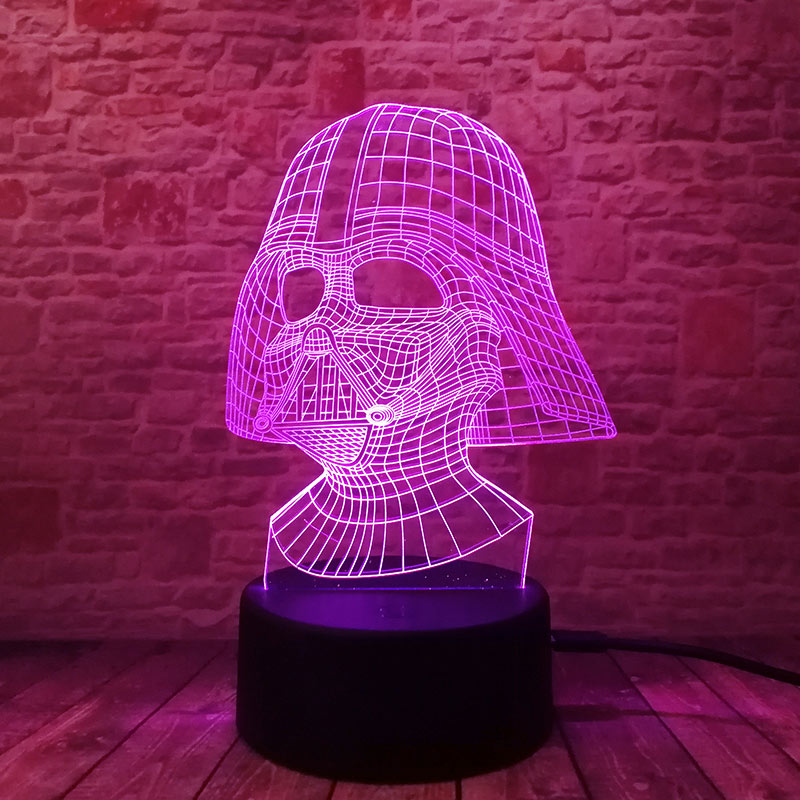 Cool LED Luminous Nightlight 7 Colourful Changing Light Black Knight Star Wars Darth Vader Mask action & toy figures 1