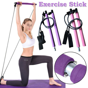 Portable Home Pilates Exercise Stick Toning Bar Fitness Yoga Gym Body Workout Body Abdominal Resistance Bands Rope Puller D30 manila hemp 1pc 5cmx12meter 2 x 40ft battle rope exercise batting ropes gym muscle toning metabolic workout