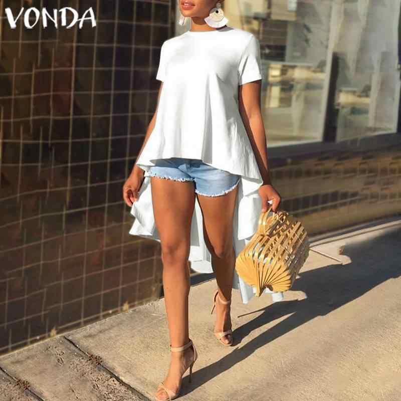 VONDA טוניקת נשים חולצה 2019 קיץ מזדמן רופף לפרוע אסימטריה חולצות סדיר Hem חולצות נקבה המפלגה למעלה בתוספת גודל Blusas