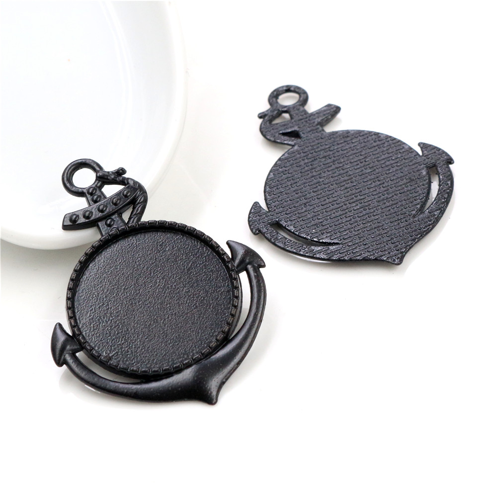 New Fashion 5pcs 25mm Inner Size Black Vintage Cabochon Base Setting Charms Pendant (A5-30)