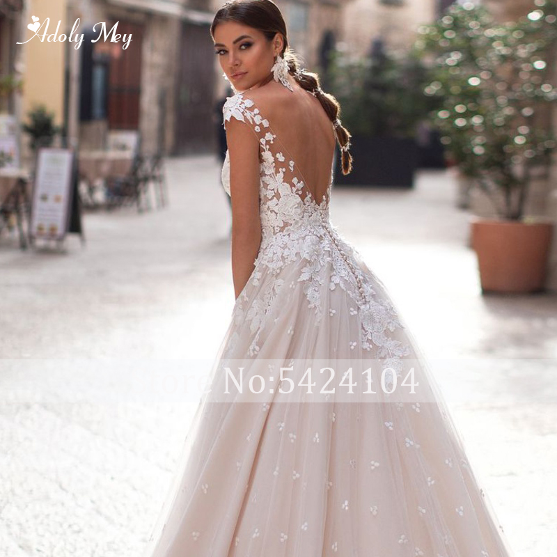 Image 4 - Adoly Mey Romantic Scoop Neck Backless A Line Wedding Dress 2020  Cap Sleeve Appliques Brush Train Princess Bride Gown Plus SizeWedding Dresses   -