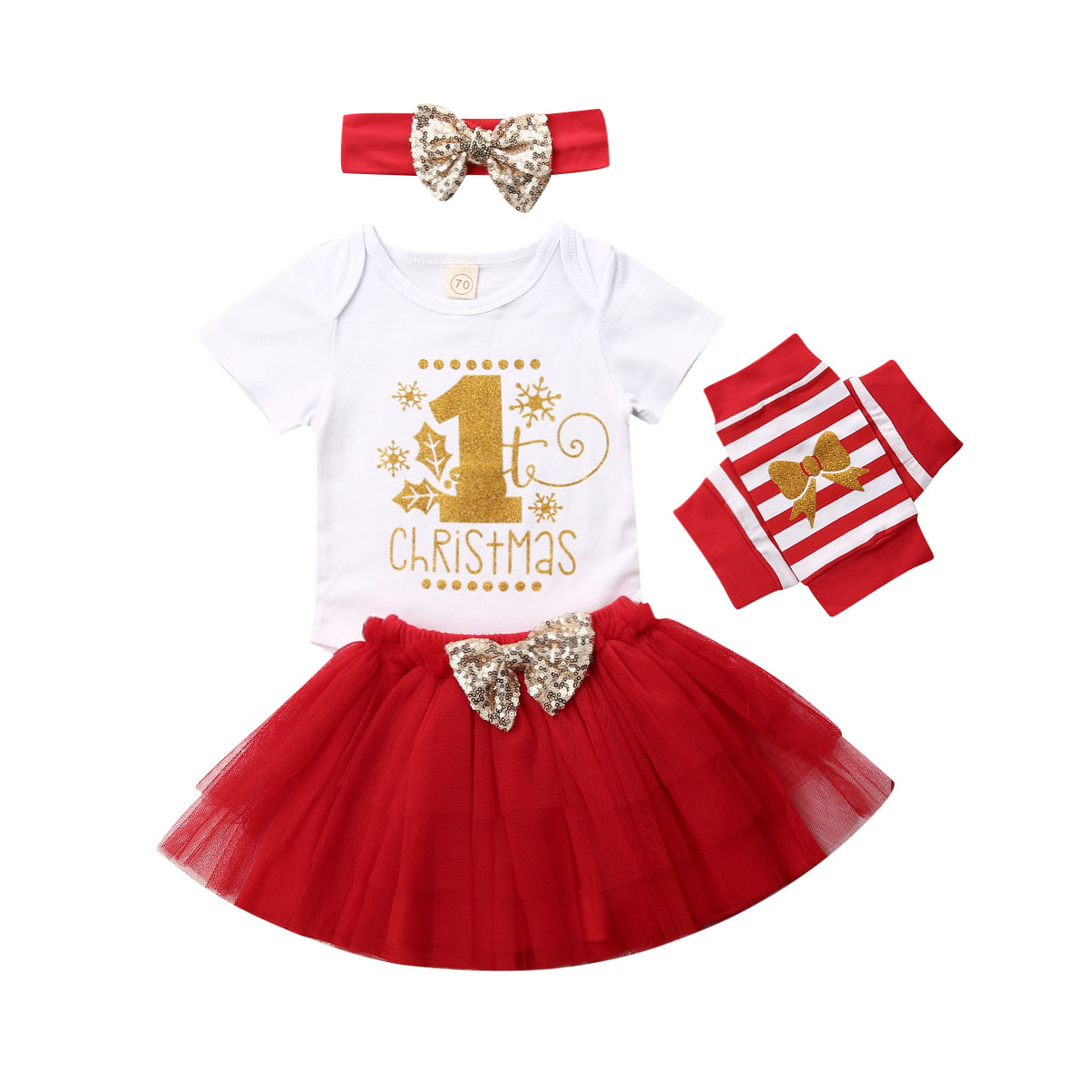 4PC Fashion Infant My Baby First Christmas Outfit Romper Tutu Skirt Headband Set