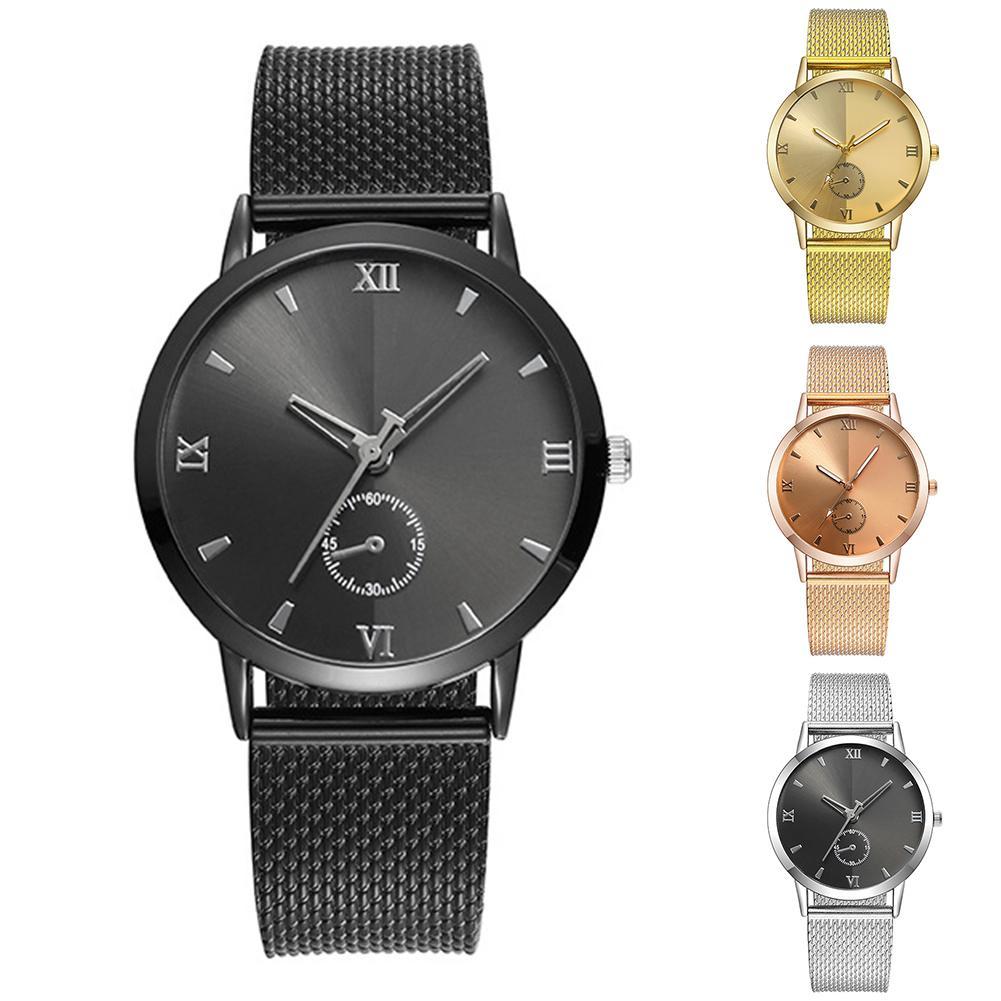 Couple Watches for Women Men Analog Quartz Wrist Watch Wristwatches Round Sub Dial Mesh Band Roman Numerals Unisex Wrist Watch