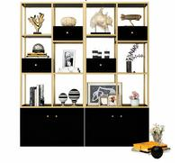 Living room floor bookshelf multilayer iron art shelf full wall bookcase light luxury display shelf storage cabinet