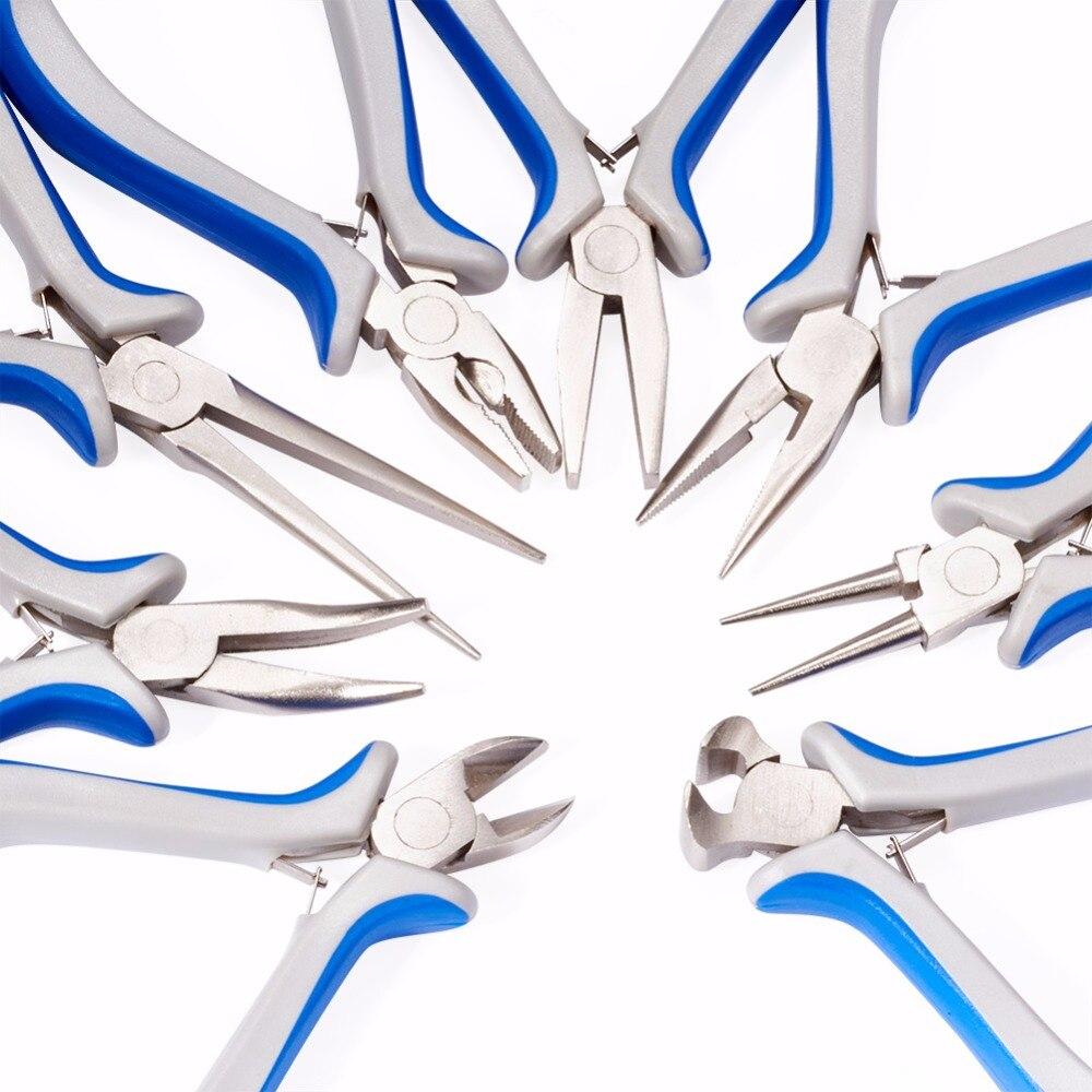 Набор из восьми ювелирных плоскогубцев, плоскогубцы с круглым носом, плоскогубцы с длинной цепочкой, плоскогубцы с плоским носом, бокорезы, концевые режущие плоскогубцы DIY Инструменты Инструменты и оборудование для украшений      АлиЭкспресс