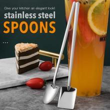 2PCS Stainless Steel Coffee Tea Spoon Shovel Shaped Dessert Forks Ice Cream Sugar Teaspoon For Kitchen Accessories Tools