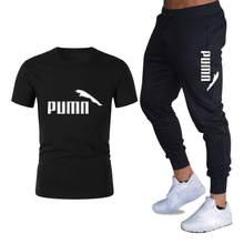 2021 spring brand men's suit T-shirt sports pants two-piece fashion pure cotton T-shirt short-sleeved suit men's track suit