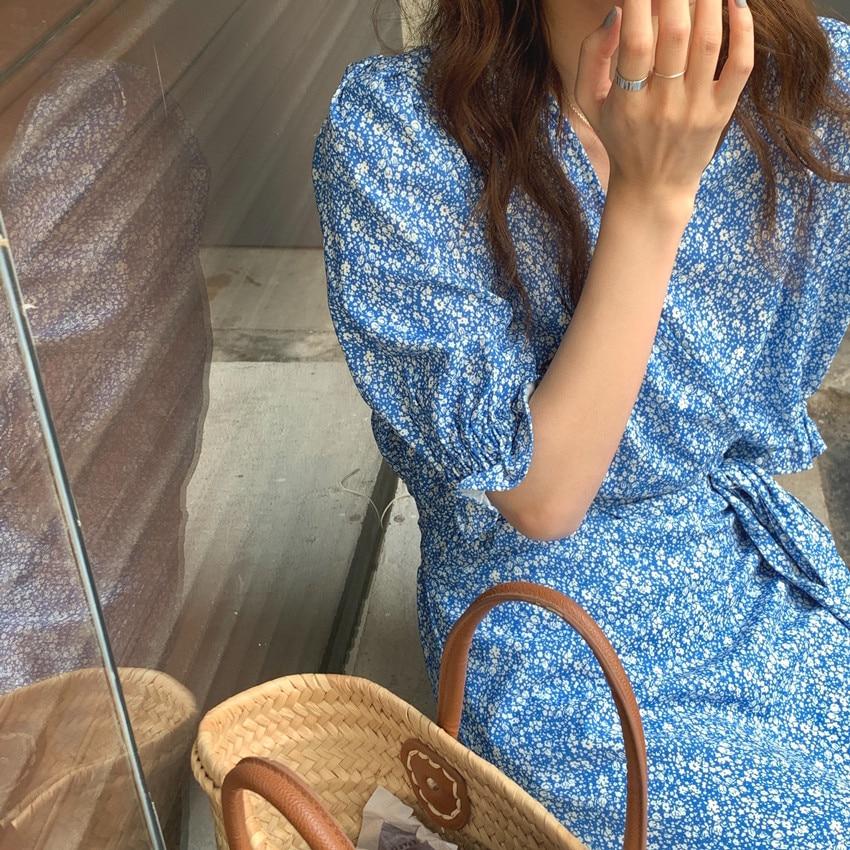 H51b634713457495ea5c149d15143e0b0e - Summer V-Neck Short Sleeves Lace-Up Floral Print Midi Dress