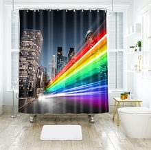 3d Colorful City and Tall Building Red Bus Shower Curtains Waterproof Thickened Bath for Bathroom Customizable