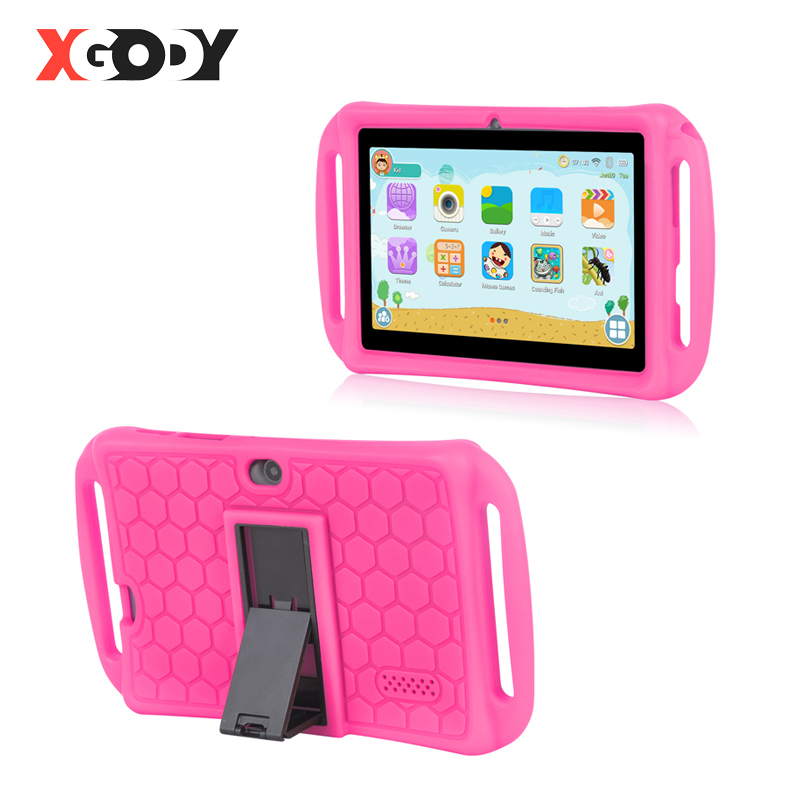 XGODY 7 Inch Kids Tablet PC Android 8.1 For Children Tablets 1GB 16GB Quad Core Dual Camera WiFi Portable Tablet Silicone Case