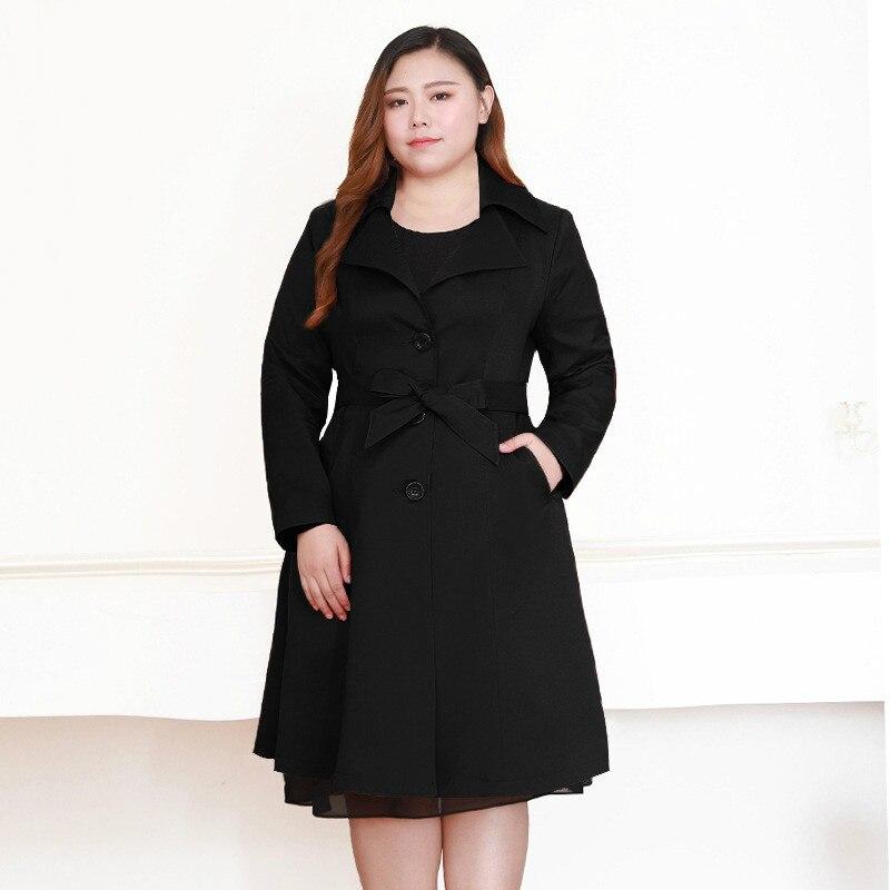 Черный длинный пуховик женская зимняя ветровка с длинным рукавом корейская мода пальто плюс размер Женский Тренч 7xl 8xl 9xl 10xl