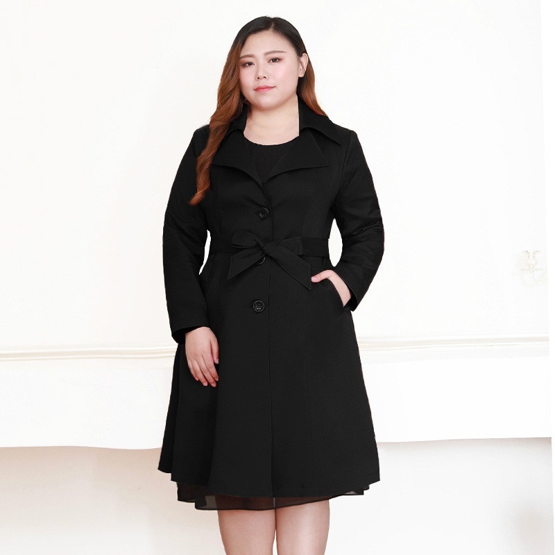 Black Maxi Coat Women Winter Windbreaker Long Sleeve Korean Fashion Overcoat Plus Size Female Trench Coat Women 7xl 8xl 9xl 10xl