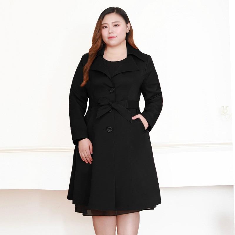 Black Maxi Coat Women Winter Windbreaker Long Sleeve Korean Fashion Overcoat Plus Size Female Trench Coat Women 7xl 8xl 9xl 10xl
