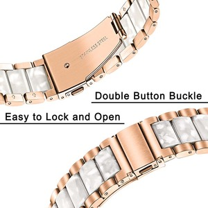 Image 4 - Stainless Steel & Resin Watchband 20mm for Samsung Galaxy Watch 42mm/Active 40mm/S2 Classic Quick Release Band Rose Gold Strap