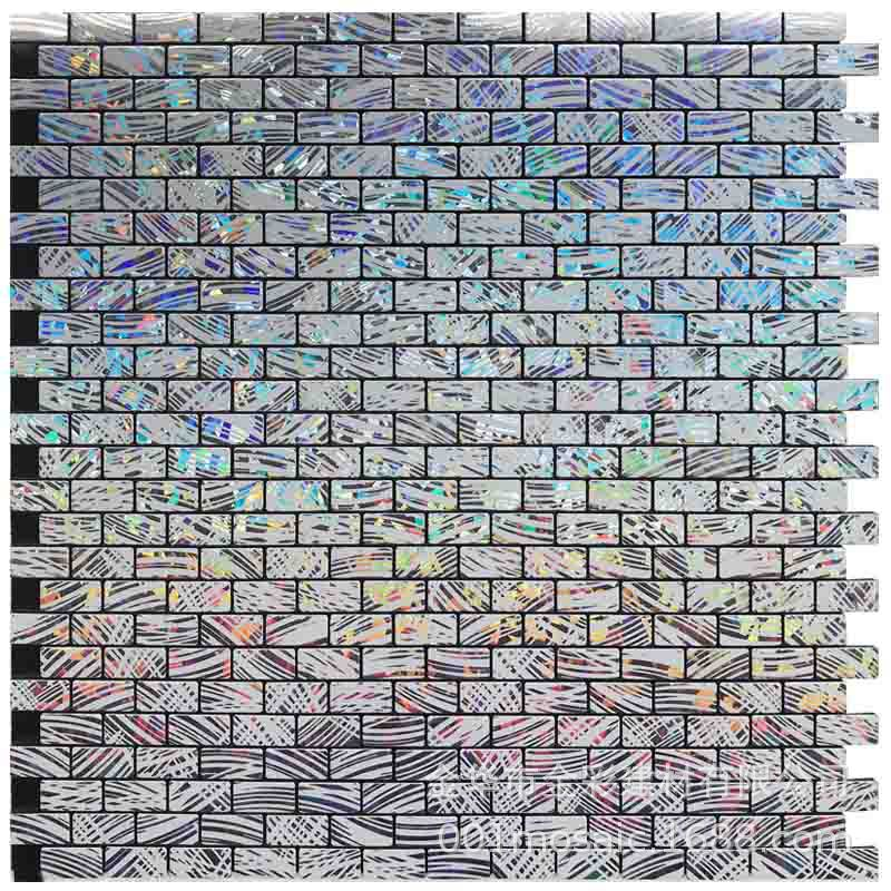 Restaurant Small Strip Laser Metallic Aluminium Mosaic Background Wall Stickers Wallpaper Self-Adhesive