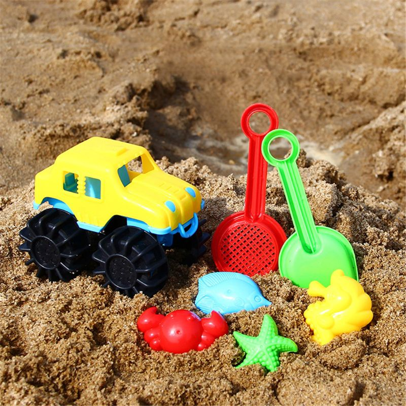 7pcs Jeep Beach Sand Toy Set Sand Mold Building Kids Summer Toys Outdoor Game