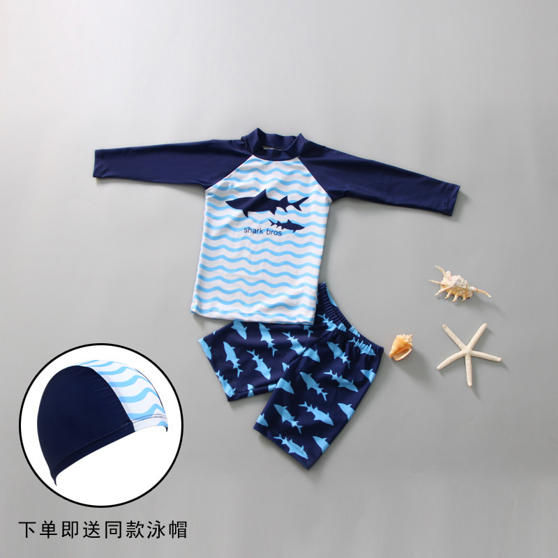Children Two-piece Swimsuits BOY'S Long Sleeve Sun-resistant Big Boy Cartoon Students Diving Suit Sweat-wicking Swimming Trunks